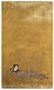 Liegender Jüngling, Japan, frühes 17. Jh., Tusche und Farben auf Goldgrund, Sammlung Preetorius im MFK, Inv.-Nr. 88-310 204