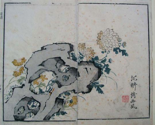 Bild: Chrysanthemen-Druck aus dem Senfkorngarten, Qianlong-Ausgabe von 1782.